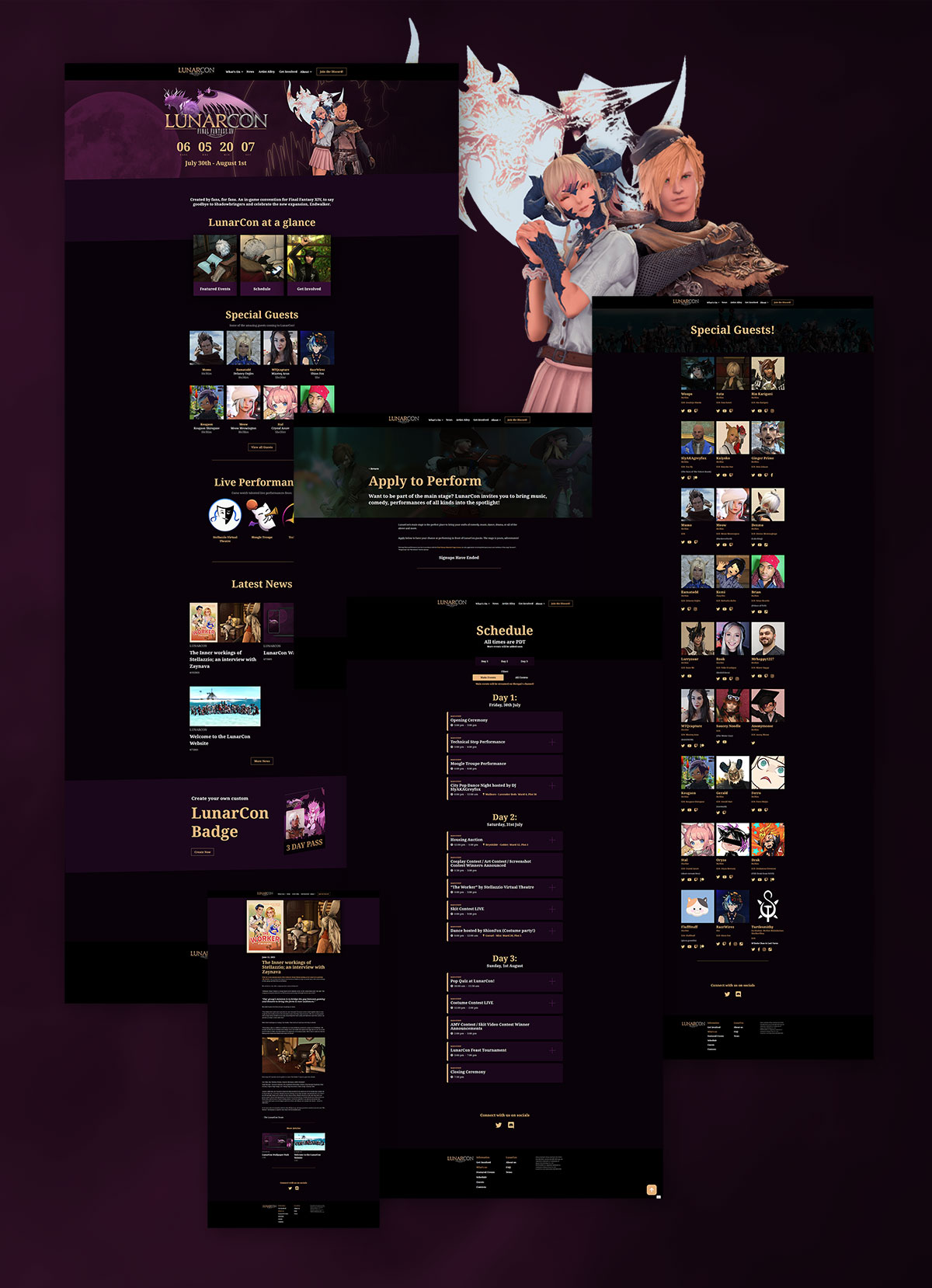 LunarCon Website Design in full