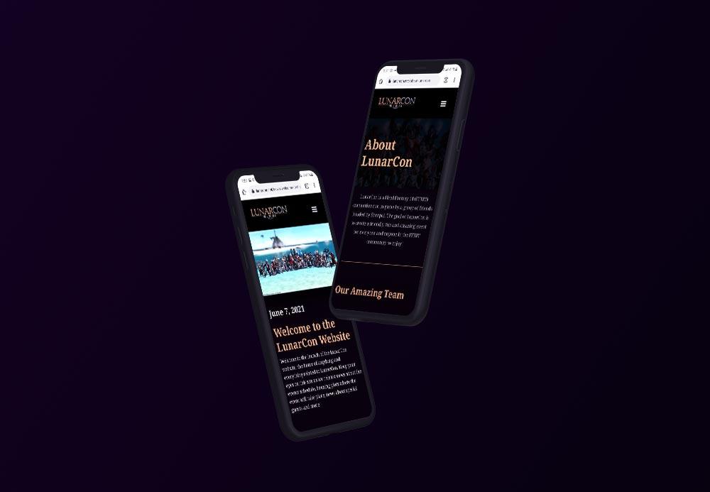 Lunarcon website on mobile