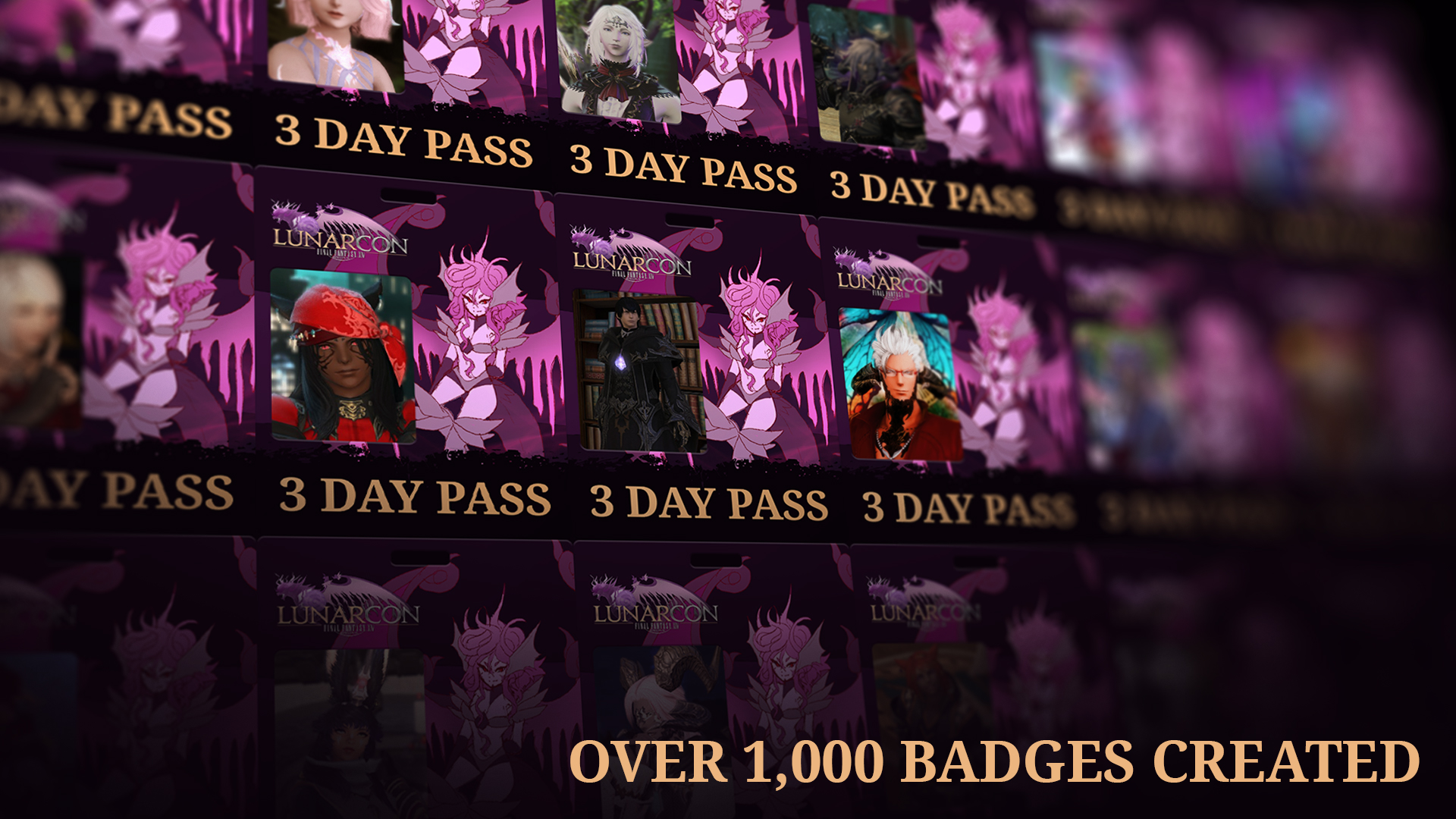Lunarcon badges created by fans
