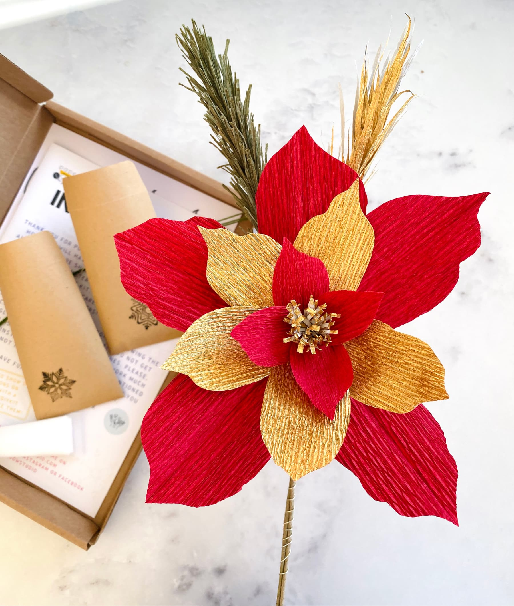 """DIY Christmas Craft Kit """"The Red One"""". Red and gold Poinsettia."""