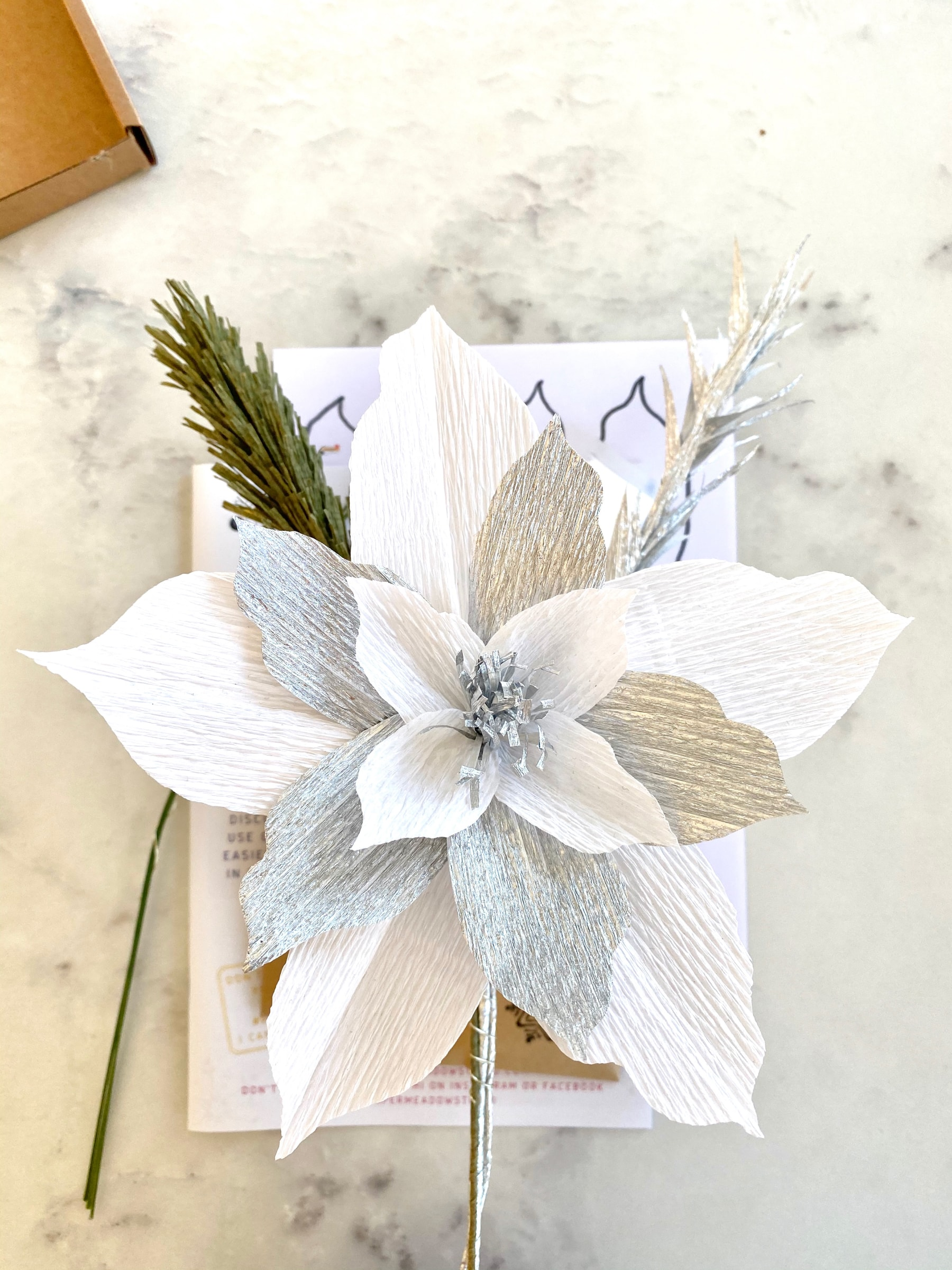 """Paper flower DIY Adult Craft Kit """"The Silver One"""". Silver and white Poinsettia."""