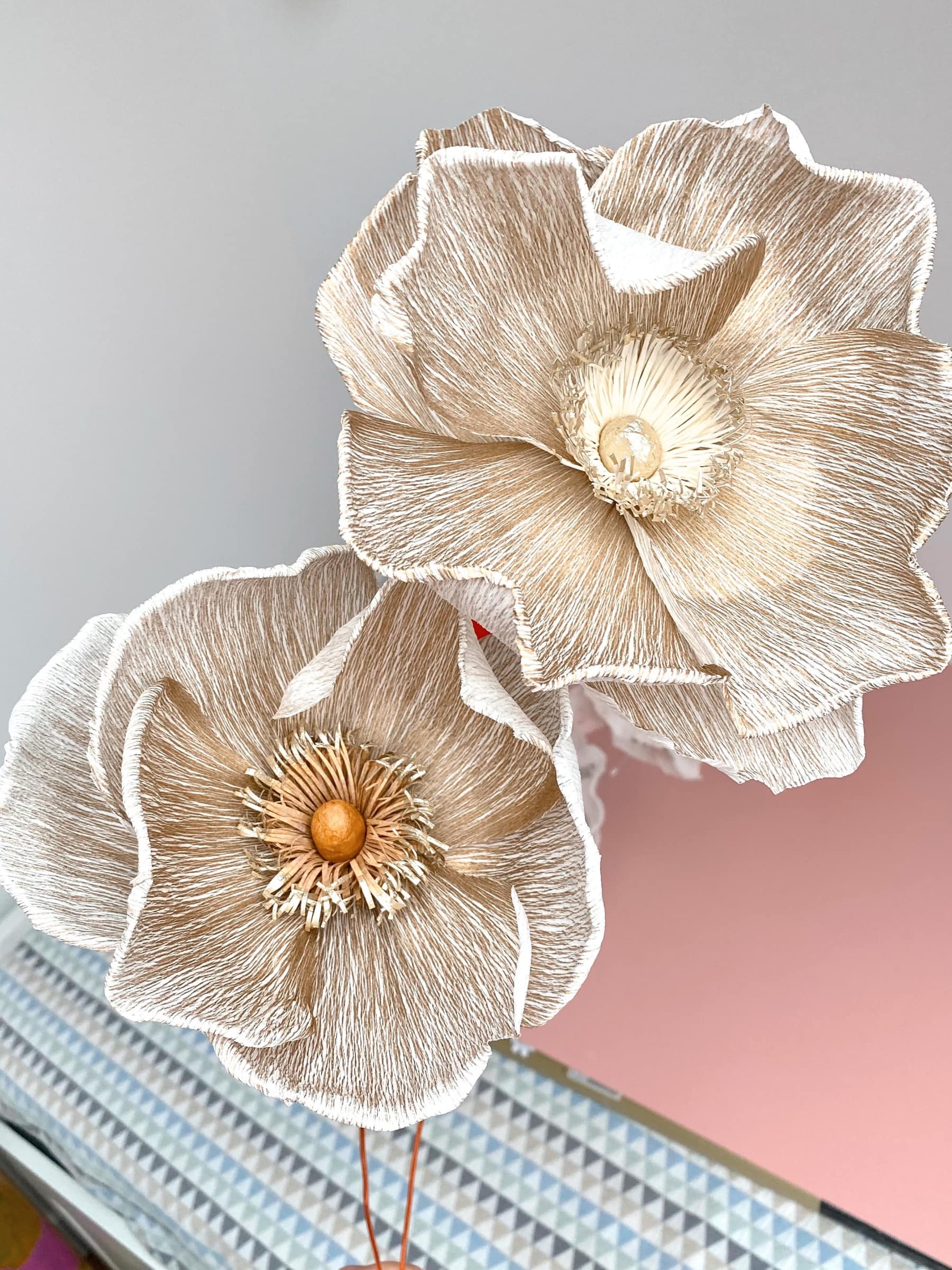 Large Gold Poppy on a wire stem