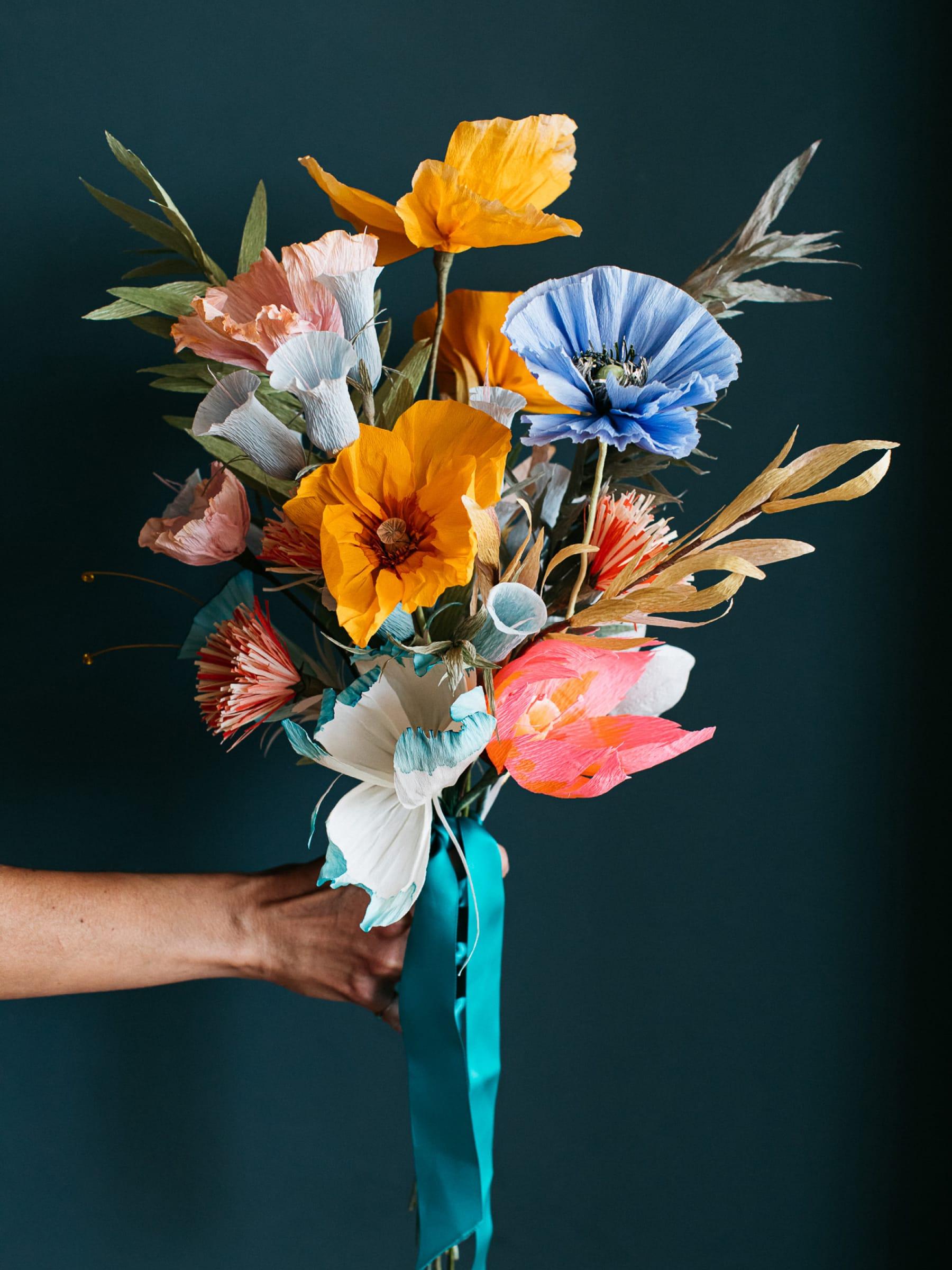 Wild colourful paper bouquet