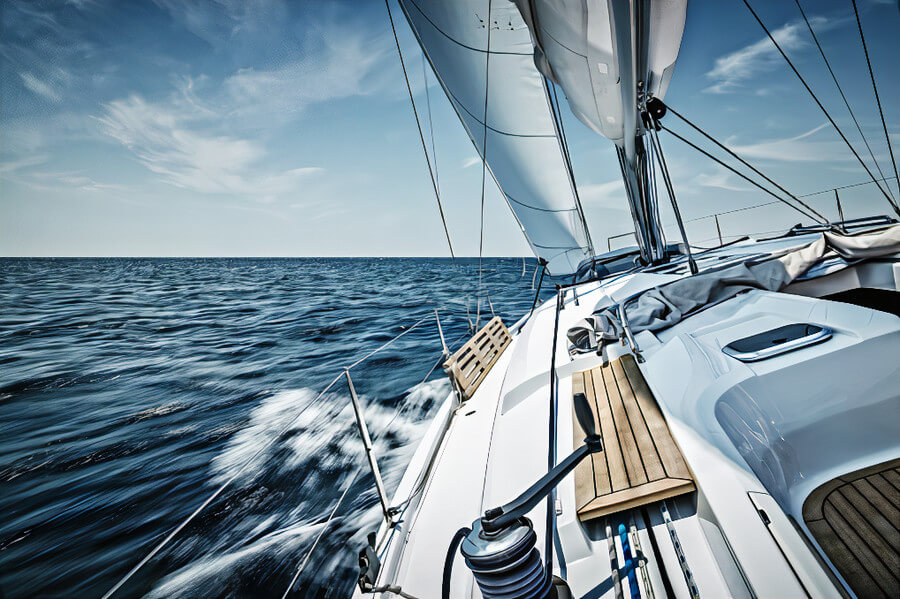 A yacht sailing