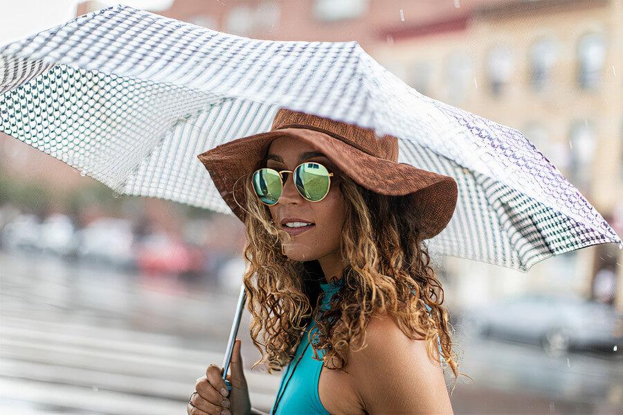 A woman with an umbrella