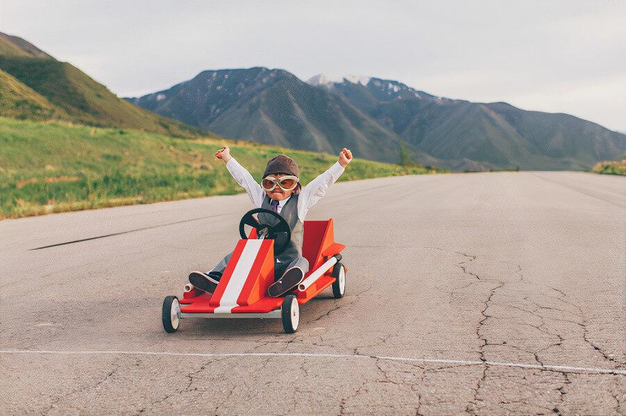 Little kid in a race kart