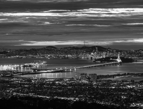 Wide Shot of City Skyline with Bridge