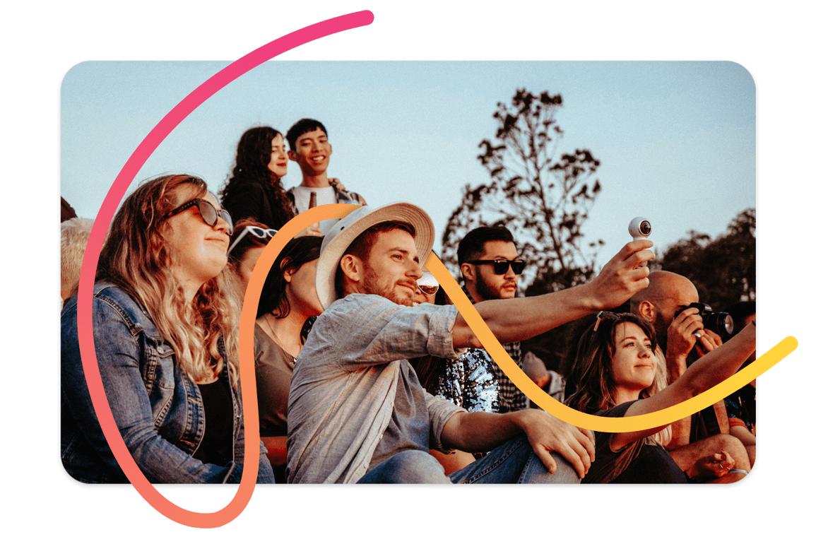 Pixtd Moment: Friends enjoying an outdoor event together