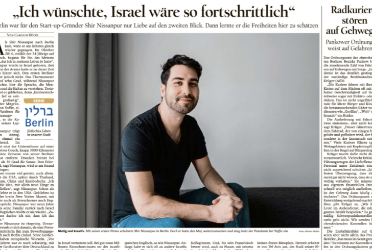 Interview with Co Founder and CMO, Shir Nissanpur in DER TAGESSPIEGEL