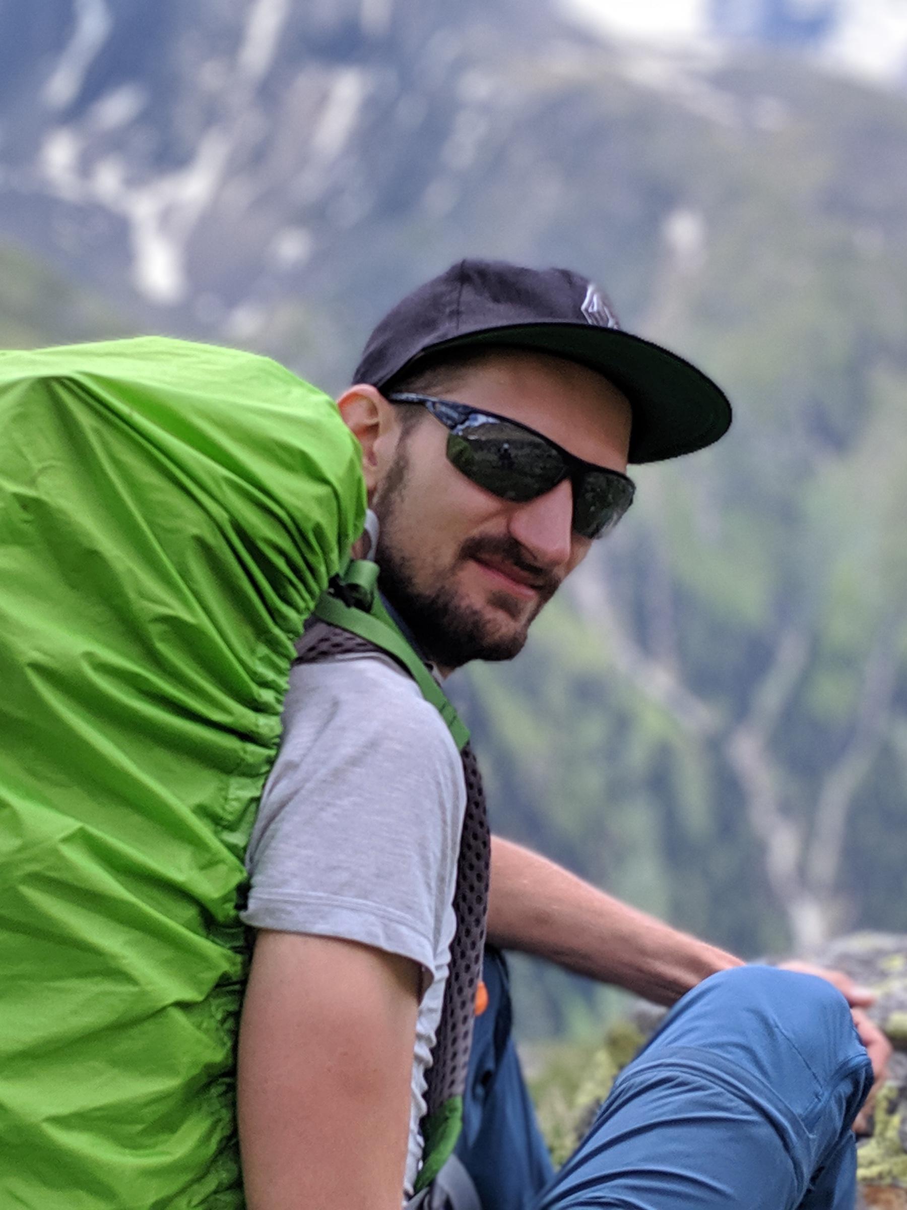 Sebastian auf der Alpenüberquerung