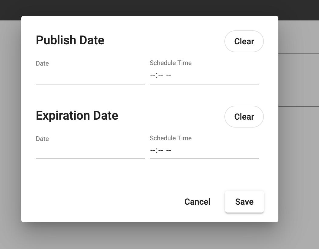Schedule content window