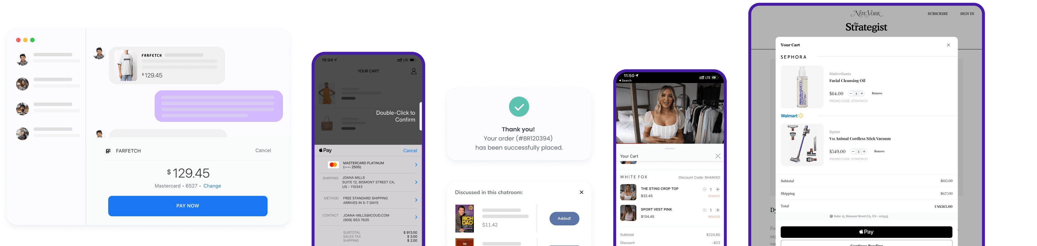 A display of all use cases for Carted's Universal Commerce API