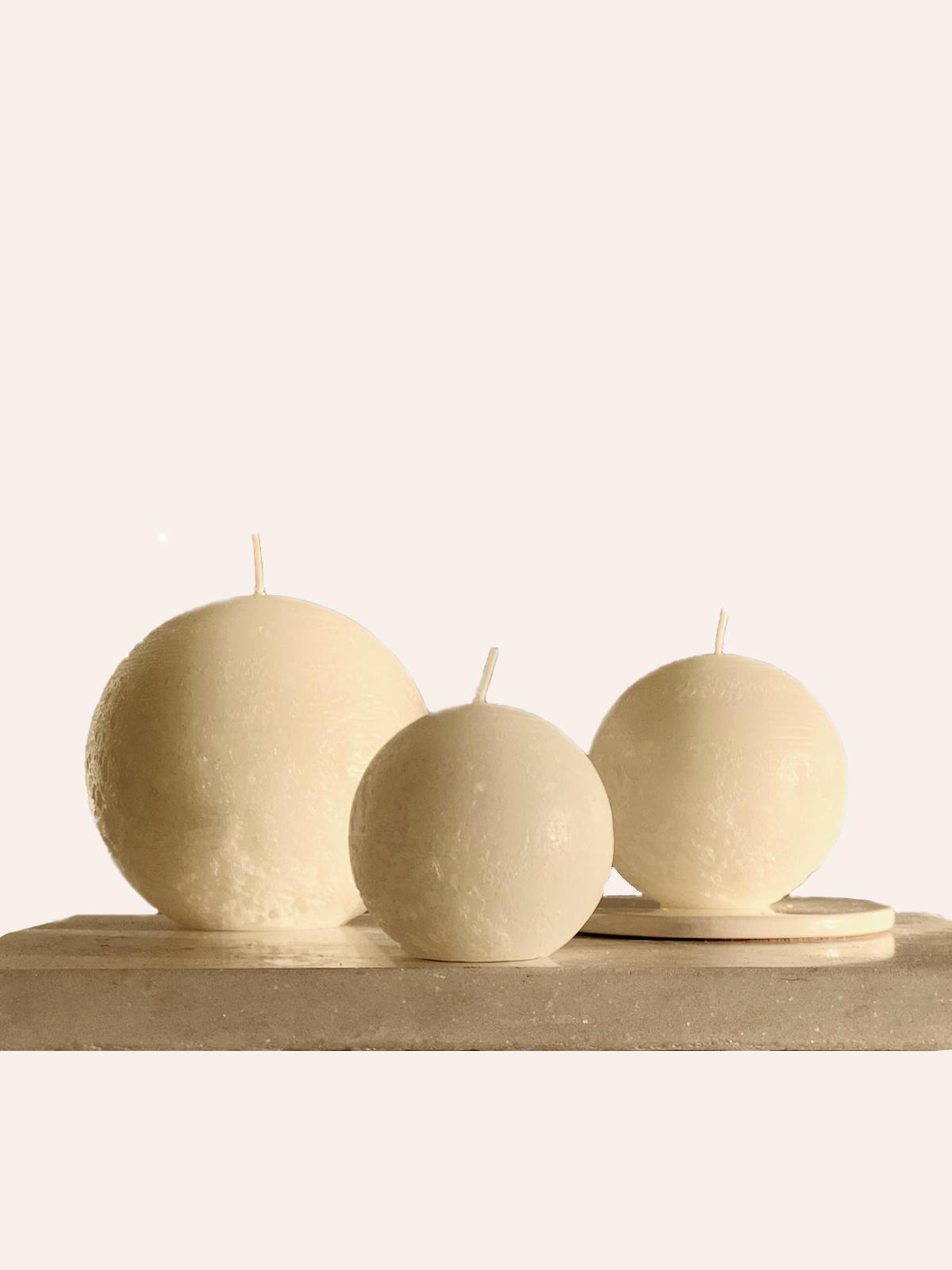 Warm White Sphere Candle Trio