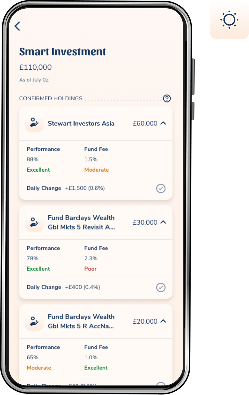 A smart phone displaying the ARQ's investment summary view