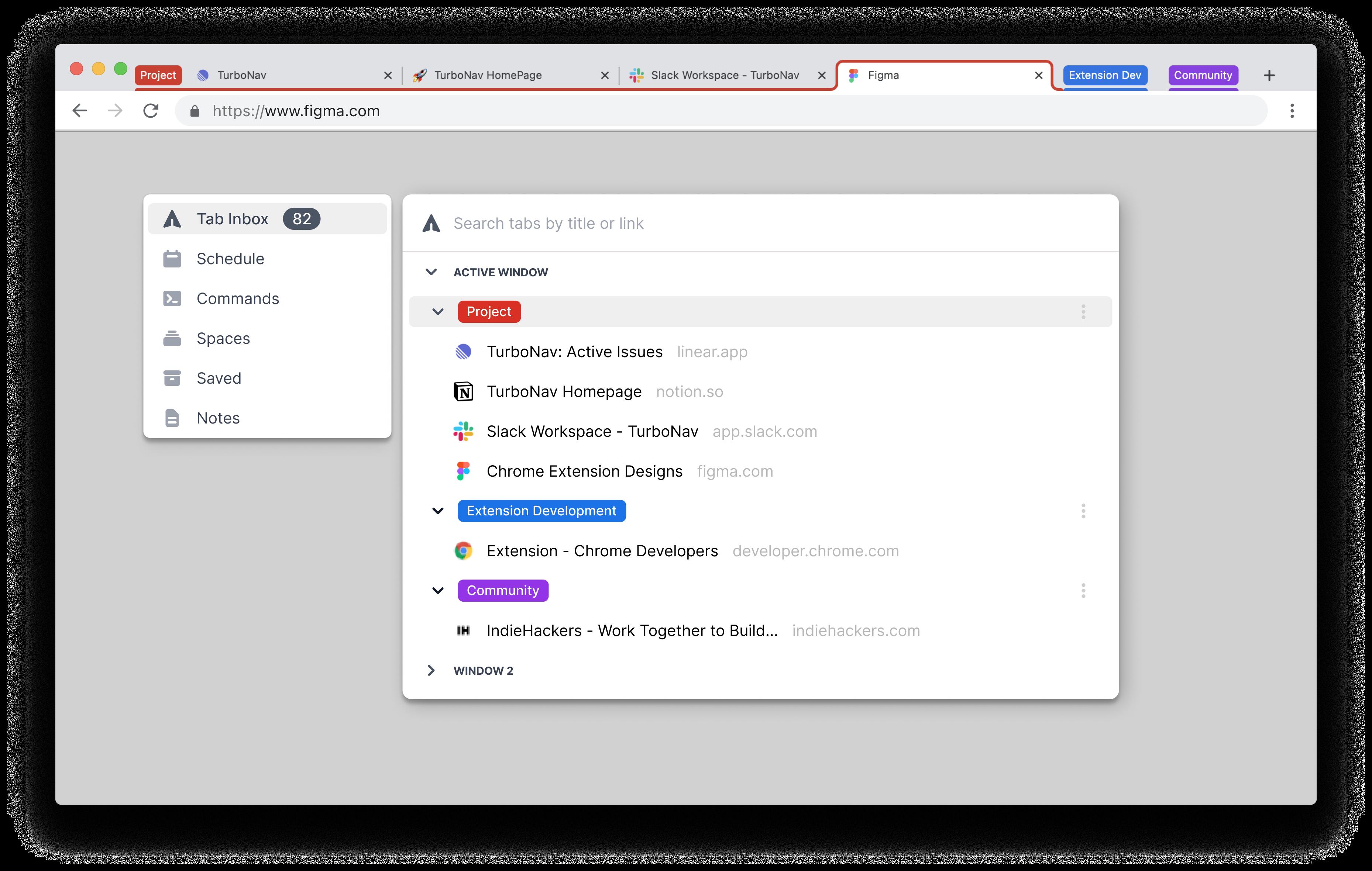 TurboNav Tab Inbox Screenshot