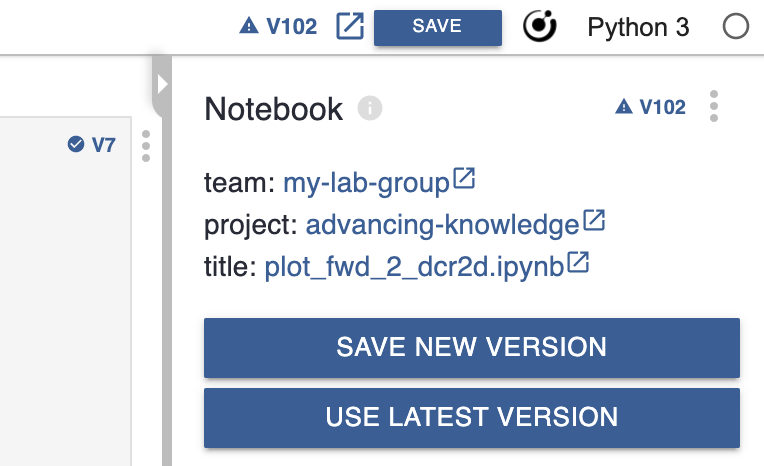Curvenote Jupyter Extension - Showing Versioning of Notebooks