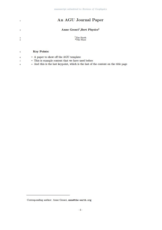 The offical 2019 AGU Journal template