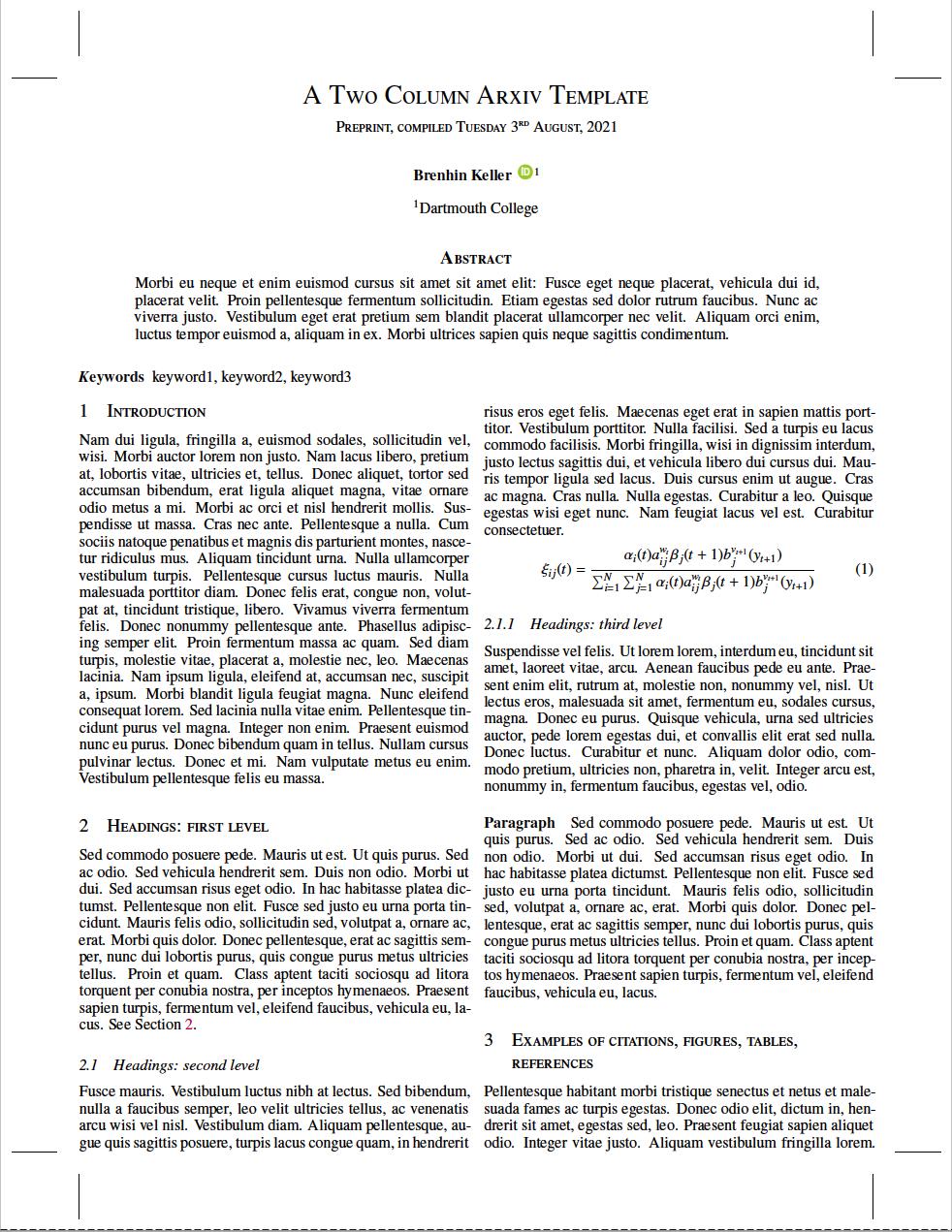 A two column arXiv compatible template
