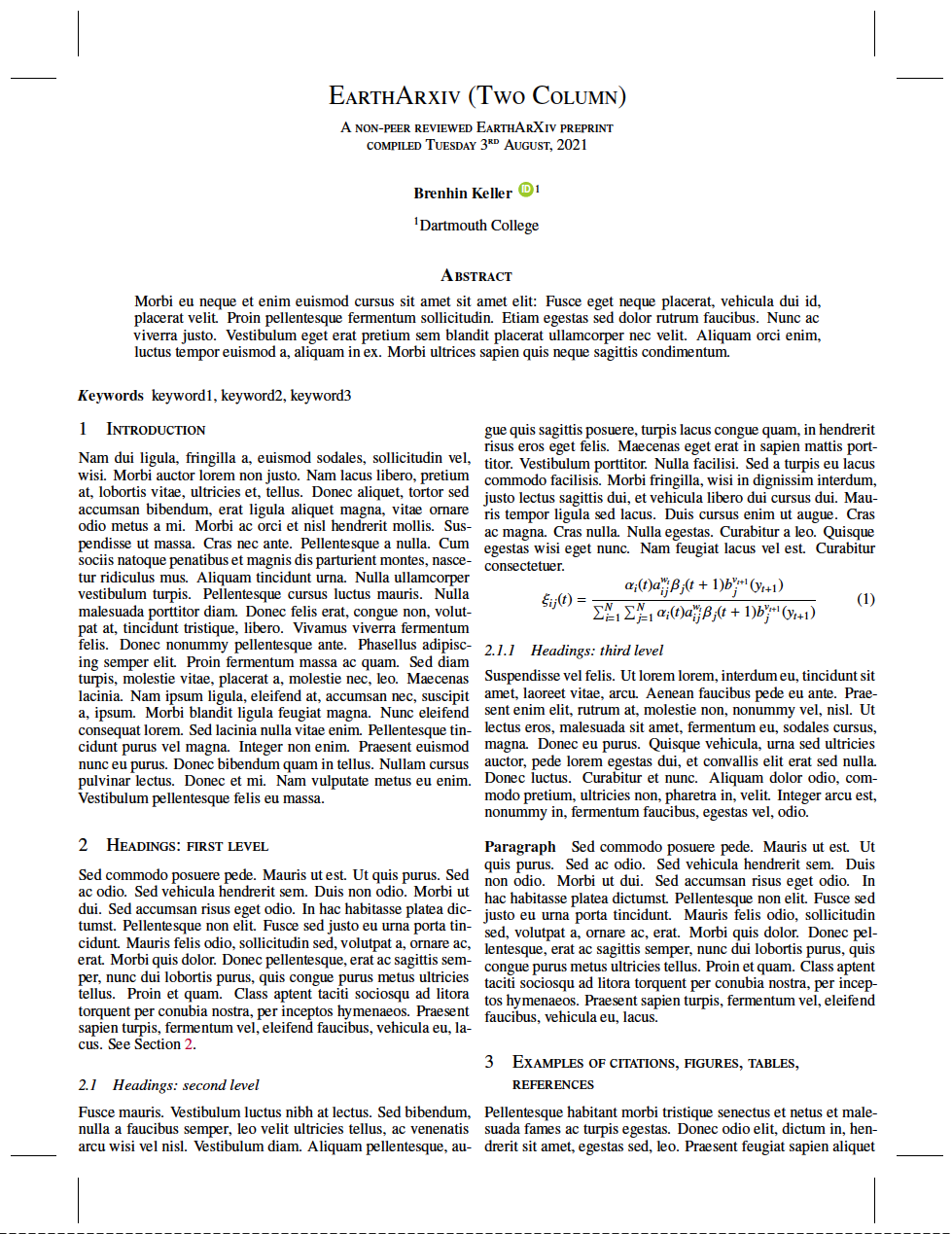 A two column preprint template for EarthArXiv with the AGU bibstyle