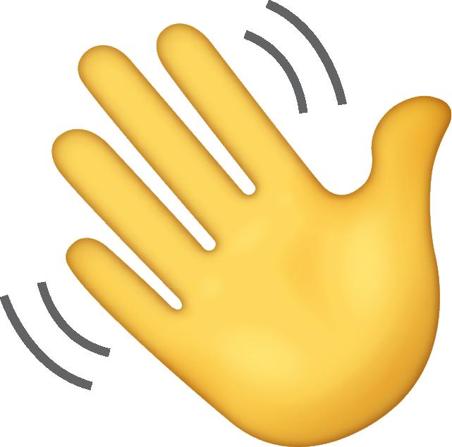 A cute waving hand emoji