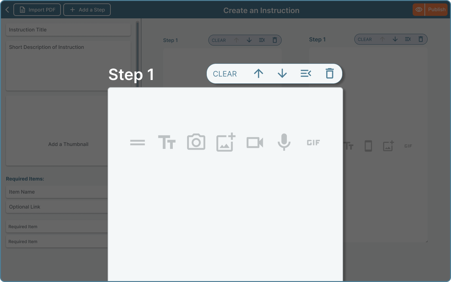 Dux platform creating instructions with different steps and elements. Share instructions.