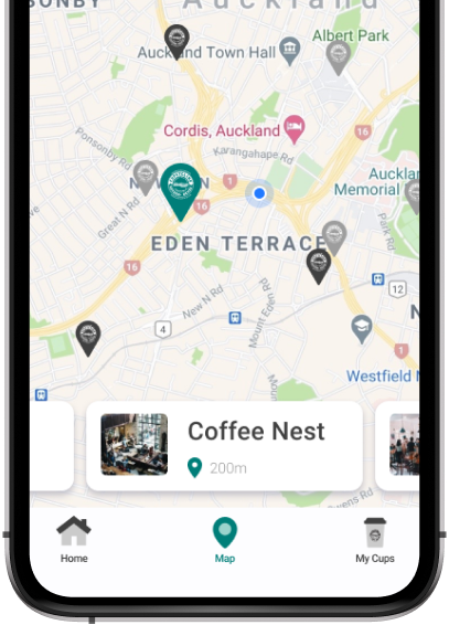 Screenshot of Cup Cycling (Swappa Cup) app showing map feature.