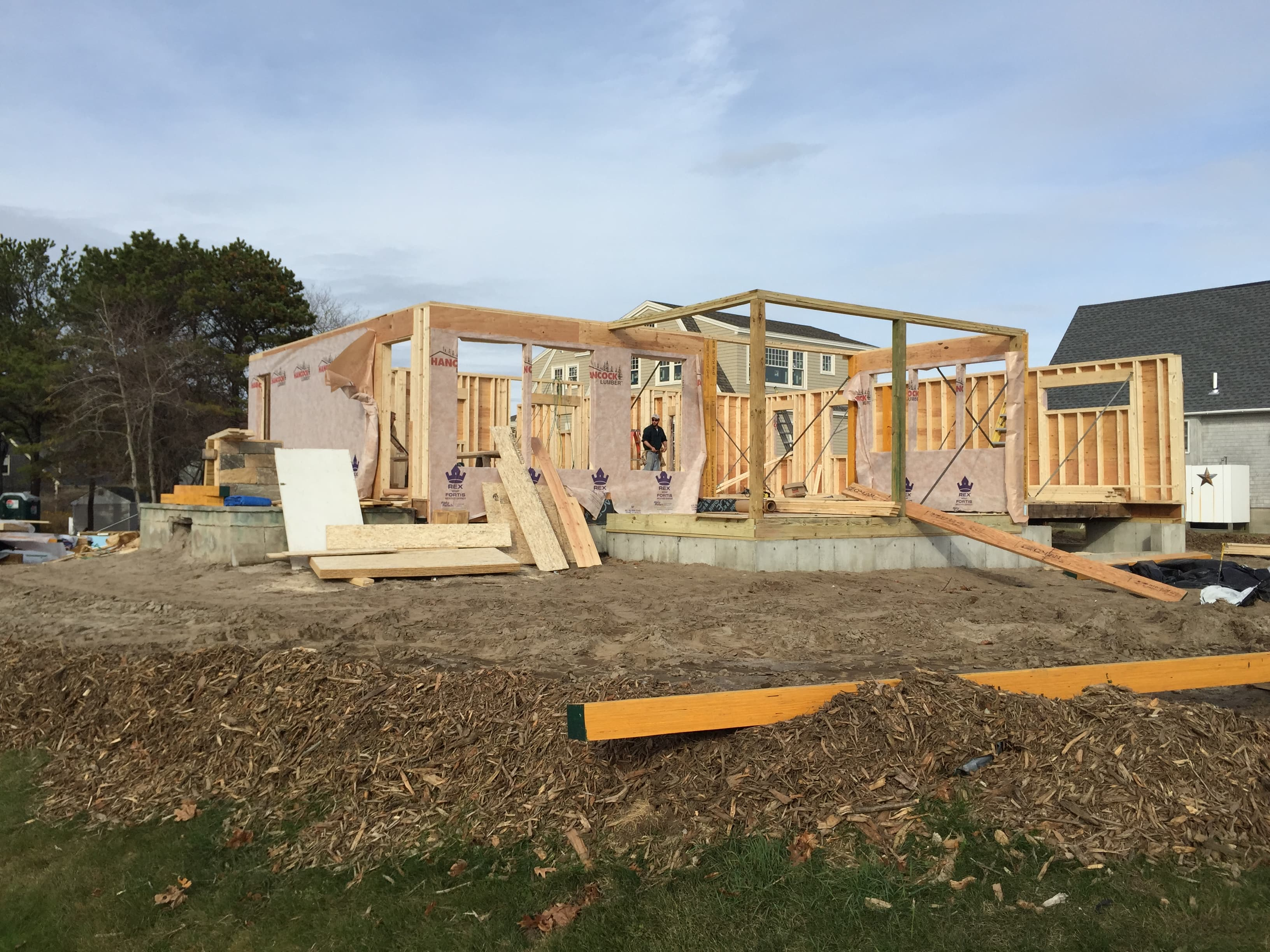 Foundation and framing of a home being built