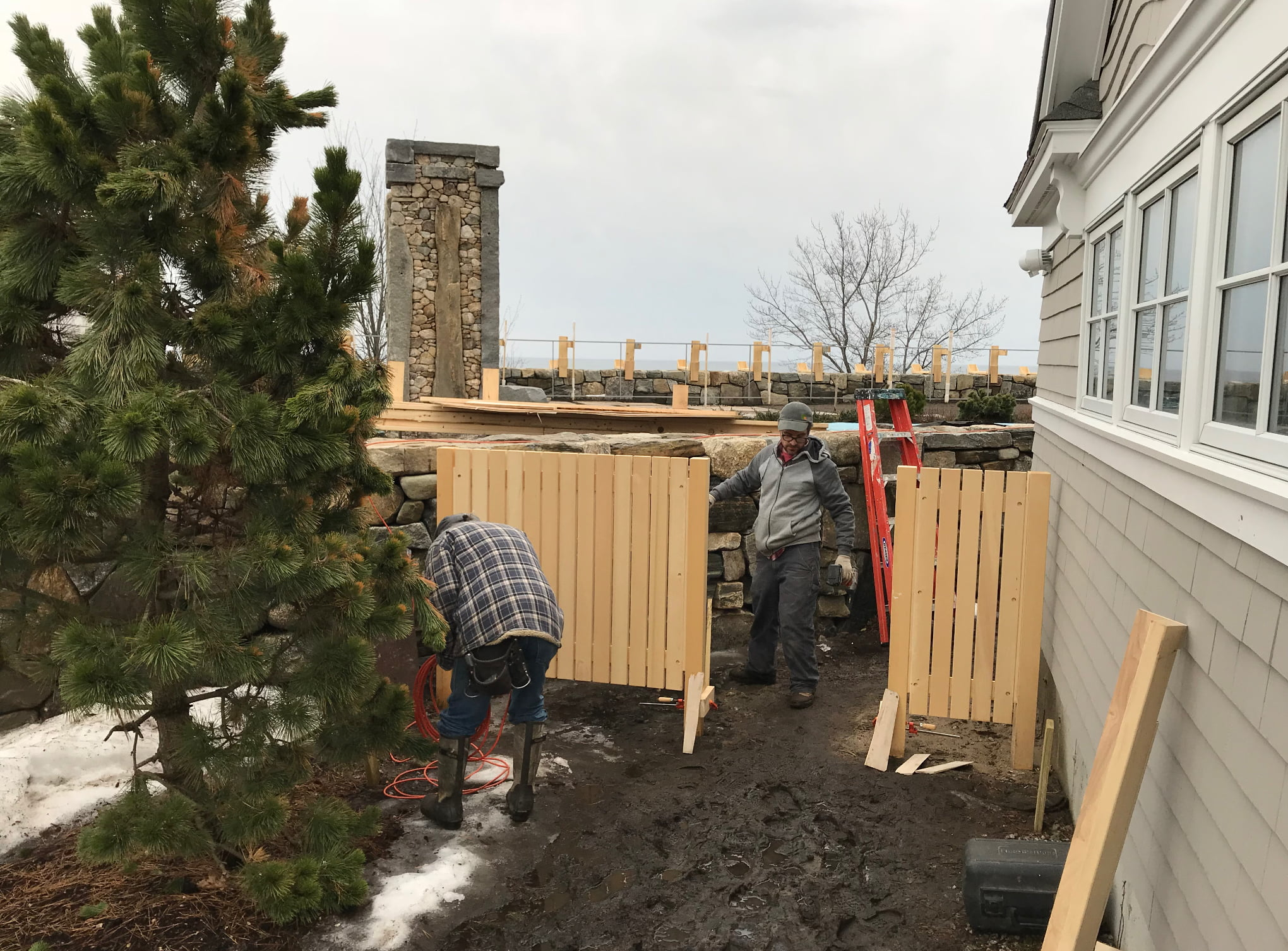 Bowley employees building a home