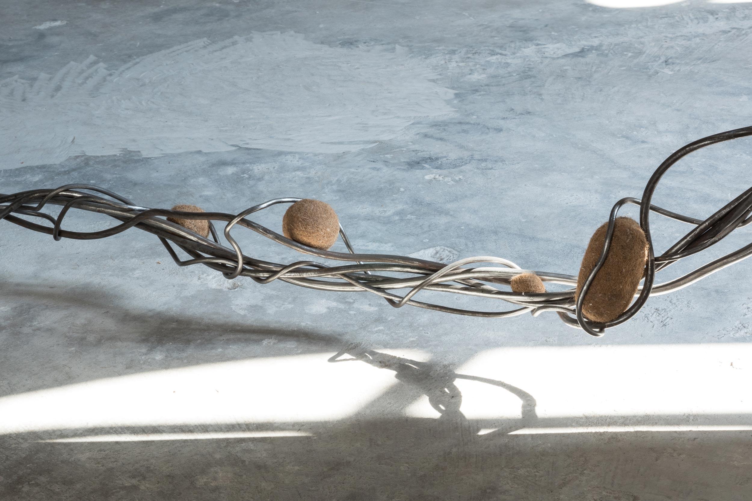 Nona Inescu, 'Intertangle II' (detail),  2021, steel, various vegetal insertions, dimensions variable.