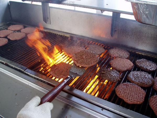 Wiard's hamburgers at a picnic.