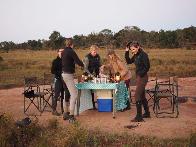 Sundowners on big 5 horse riding safari South Africa