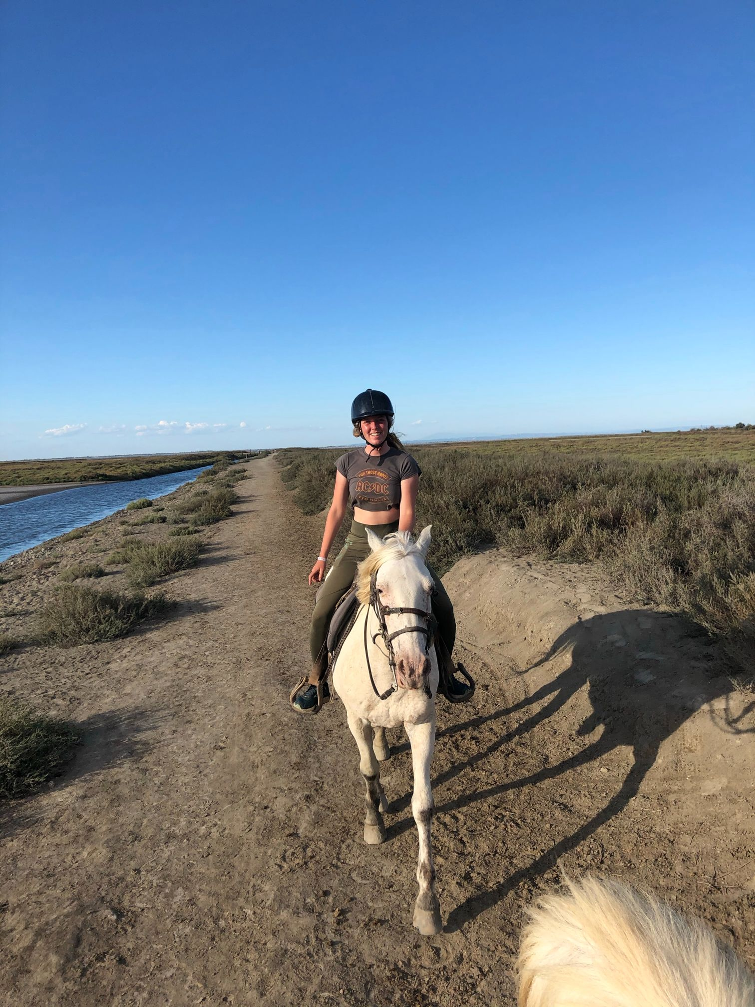 Trotting with a horse on a river bank in camargue france