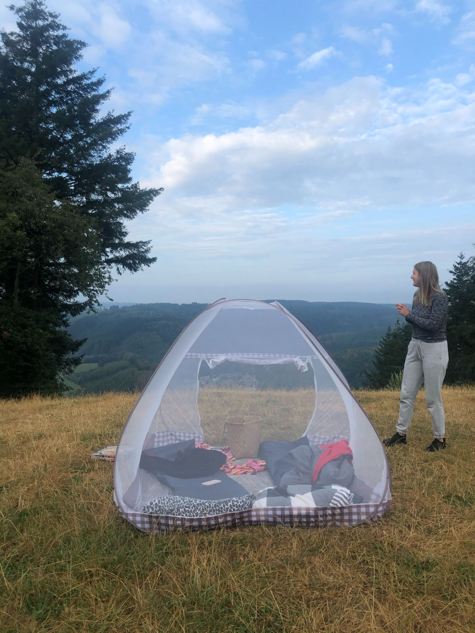 Camping with mosquito net in nature