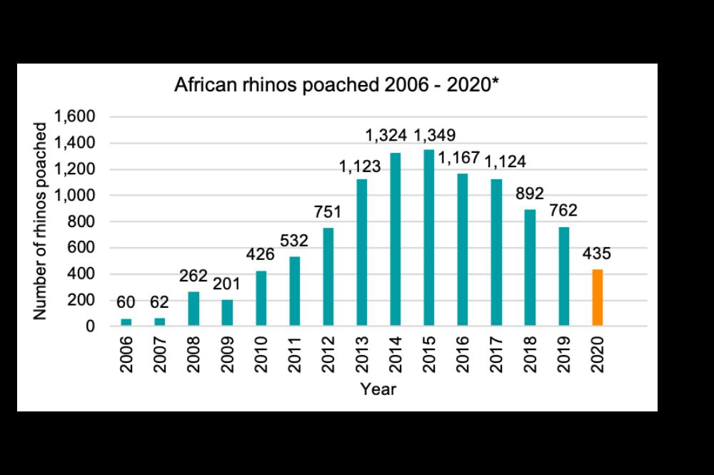 Rhino poaching statistics 2006 to 2020