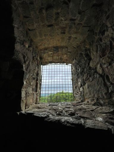 Old castle tower window in poland