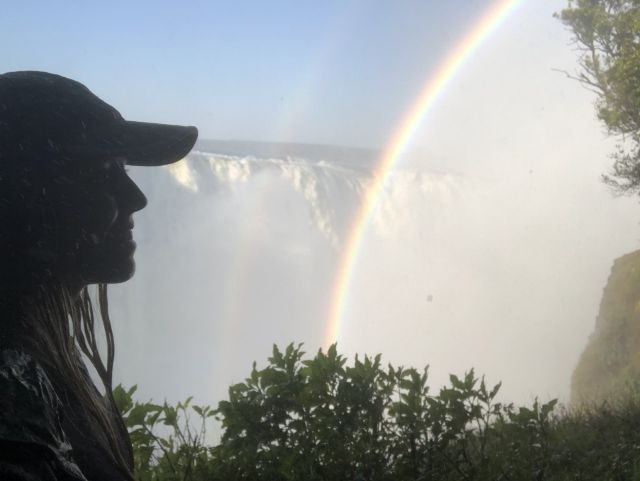 Victoria falls with a rainbow in zimbabwe