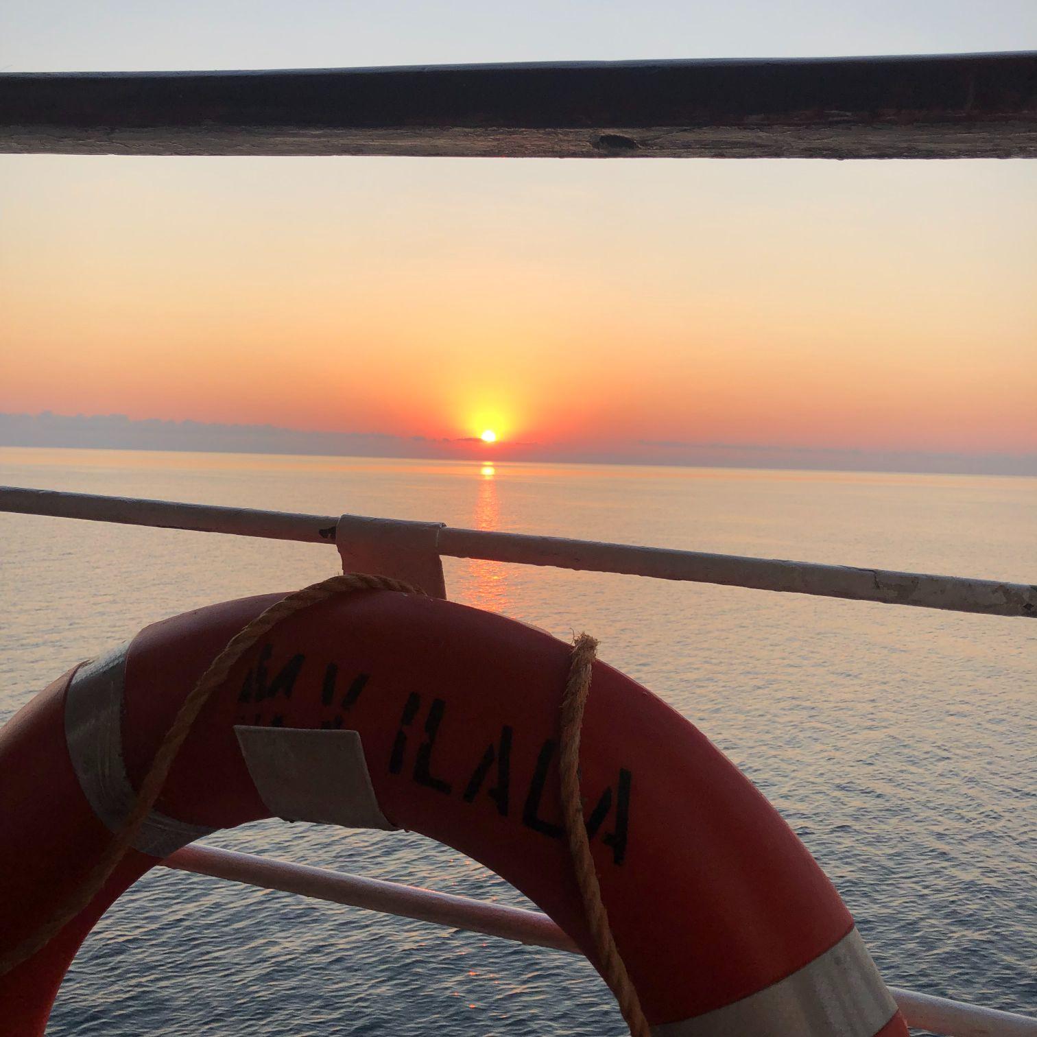 sunset on the mv ilala ferry on lake malawi