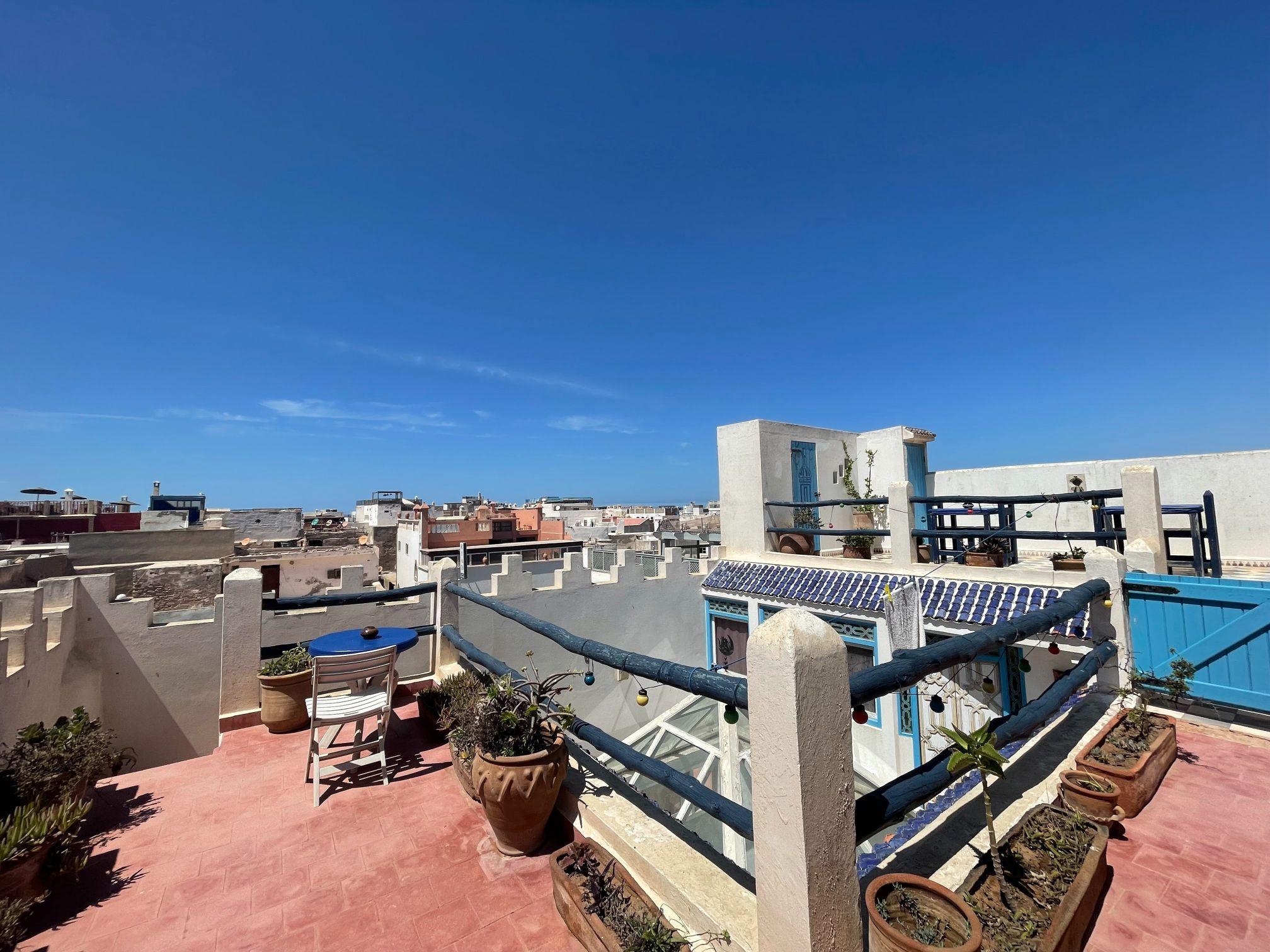 rooftop terrace blue in essaouira city morocco