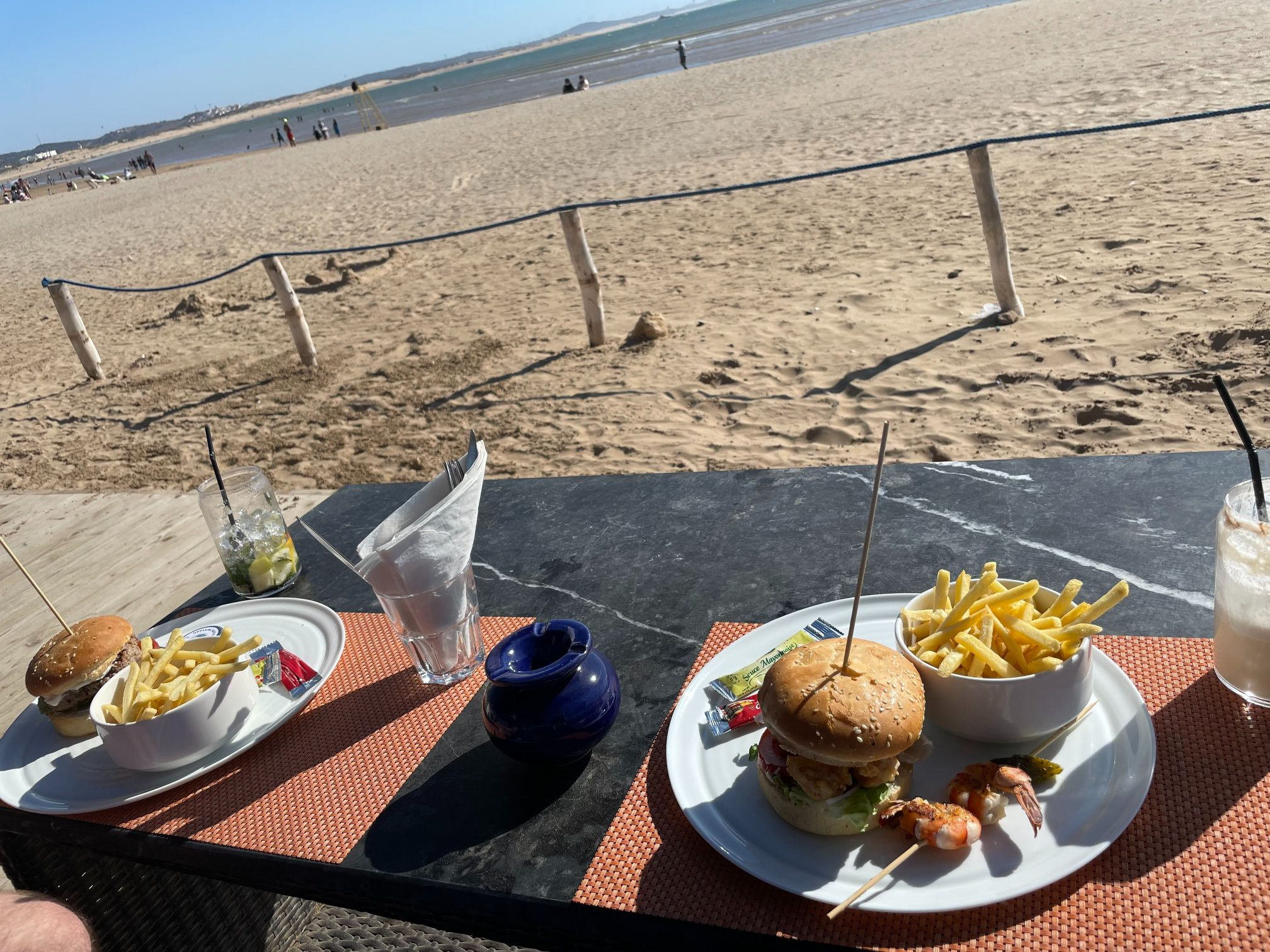 burgers at bar miramar essaouira beach morocco