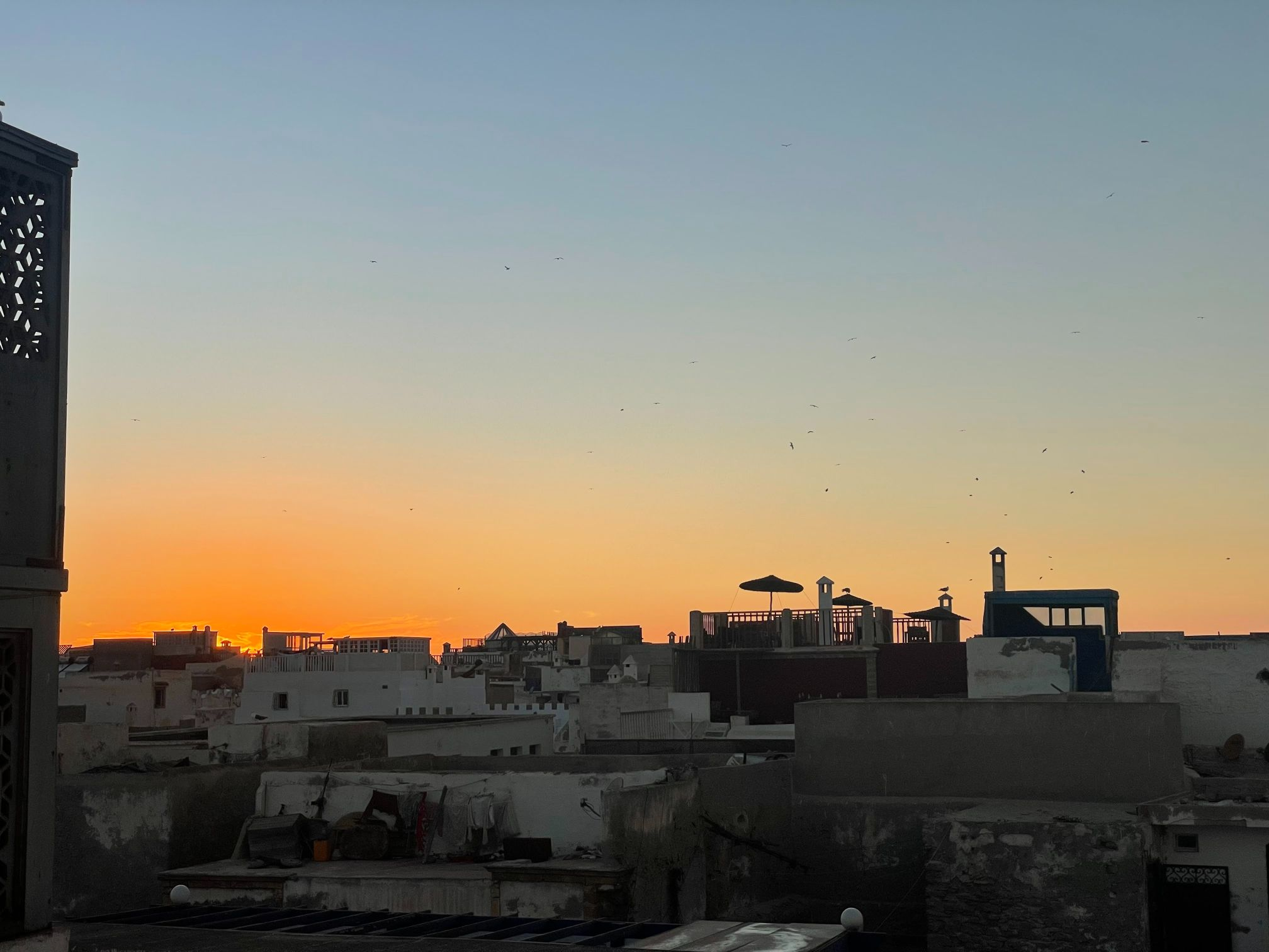 sunset in essaouira city rooftop morocco