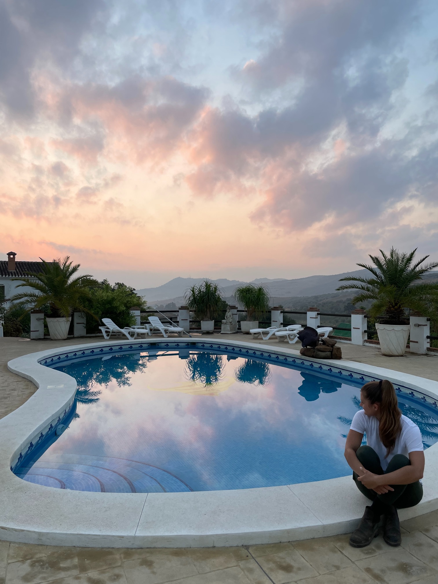 Sunrise at the pool at a horse riding holiday in andausia spain