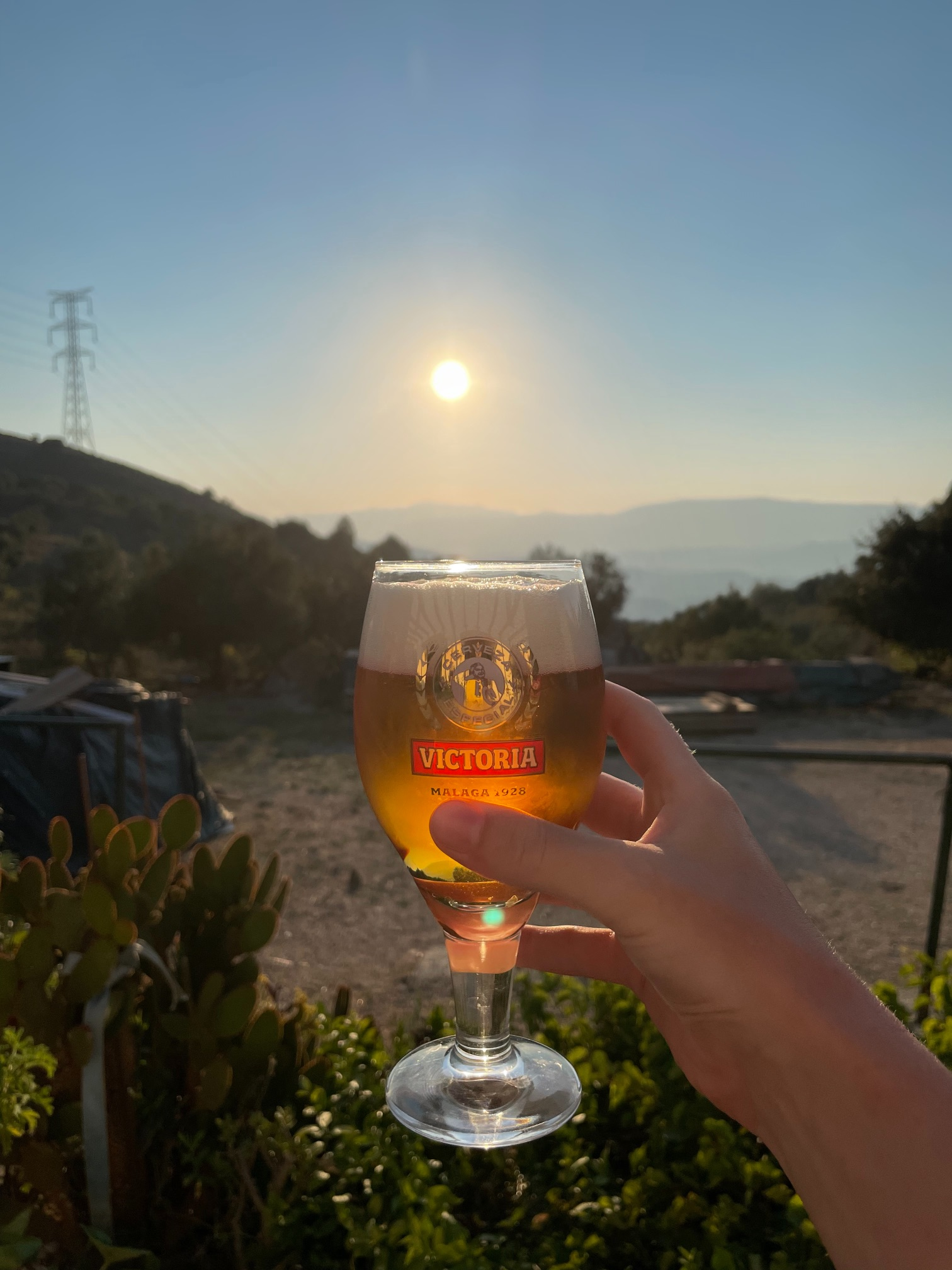 Victoria Malaga beer during the sunset in andalusia