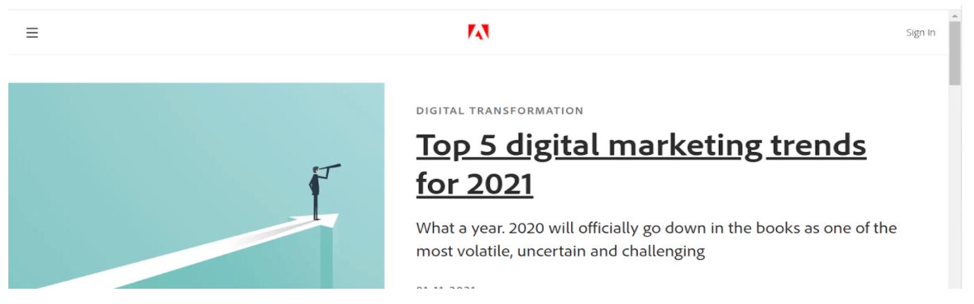 Adobe headline