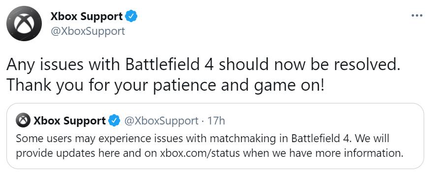 Xbox social customer service tweet