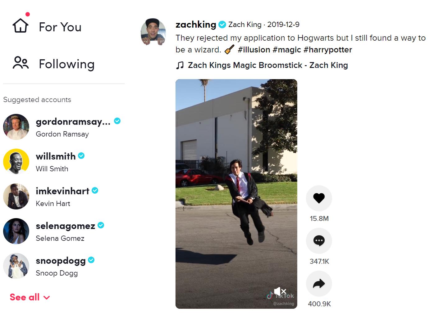 Zach King on TikTok