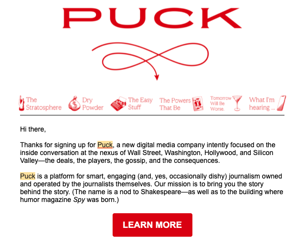 Puck News welcome email adds to their email marketing strategy