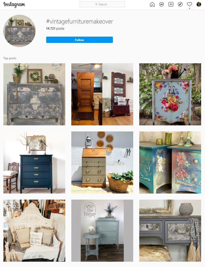 vintage furniture instagram hashtag page