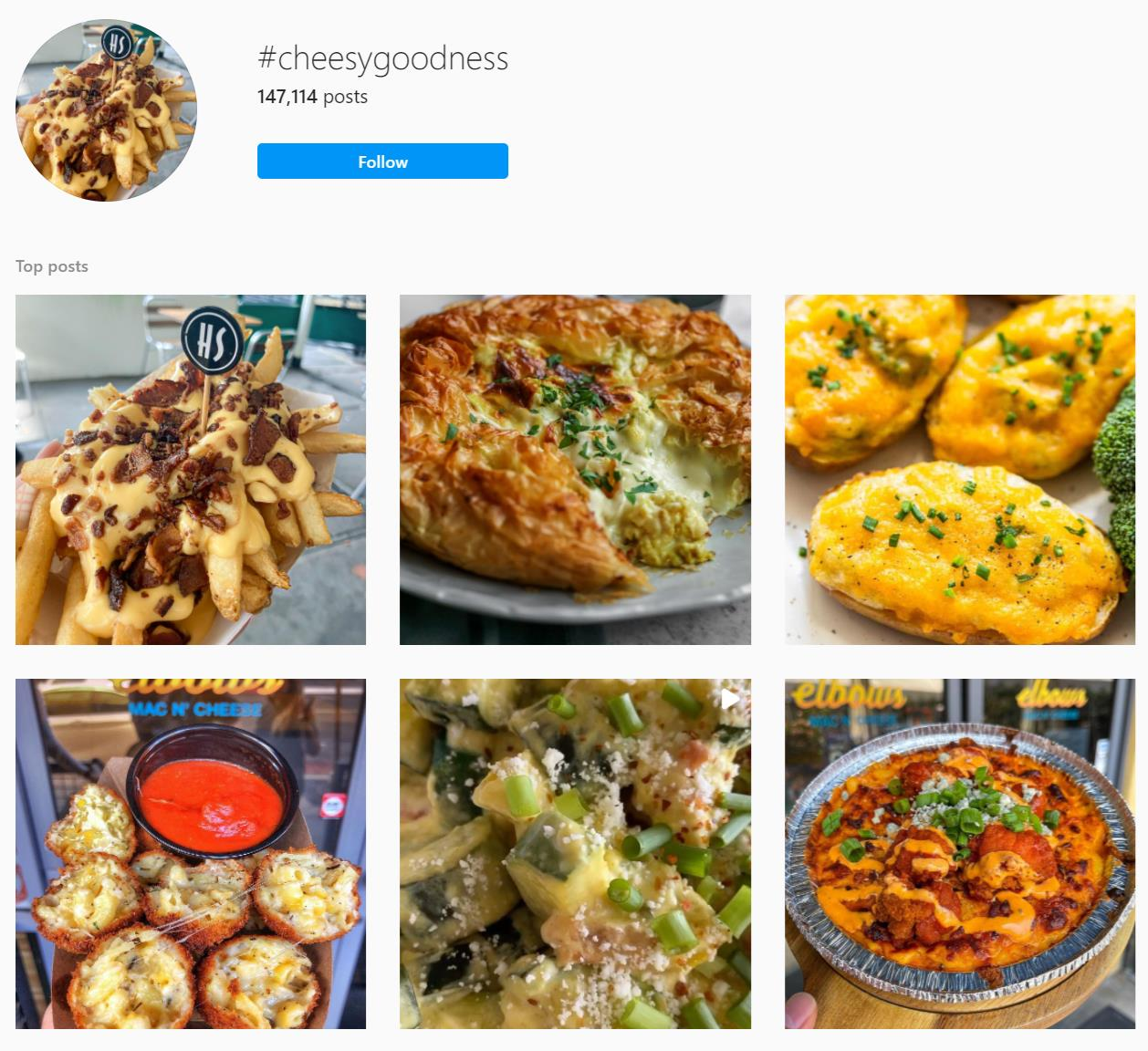 cheesy goodness Instagram hashtag page