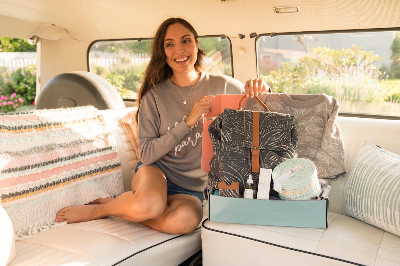 Unboxing Beachly in a van