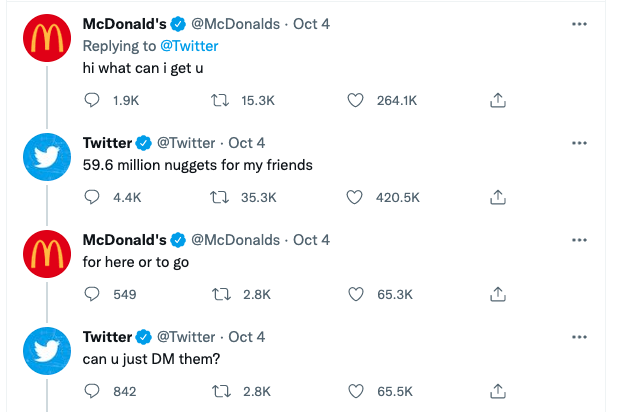 Twitter engages with McDonald's